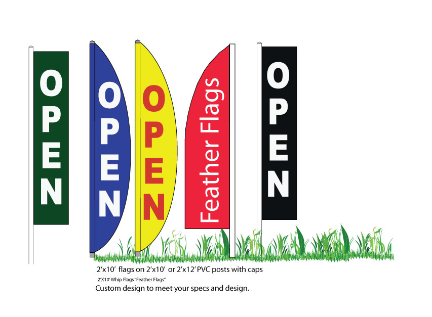 Custom Printed Flags with posts installs or delivered